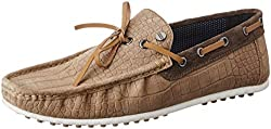 Carlton London Mens Pancho Chikoo Leather Loafers and Moccasins - 8 UK/India (42 EU)
