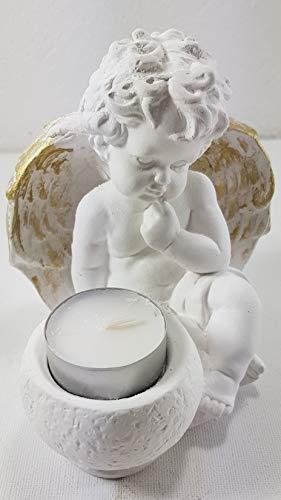 Sitzender Engel mit Teelichthalter für Kerzen Dekoengel