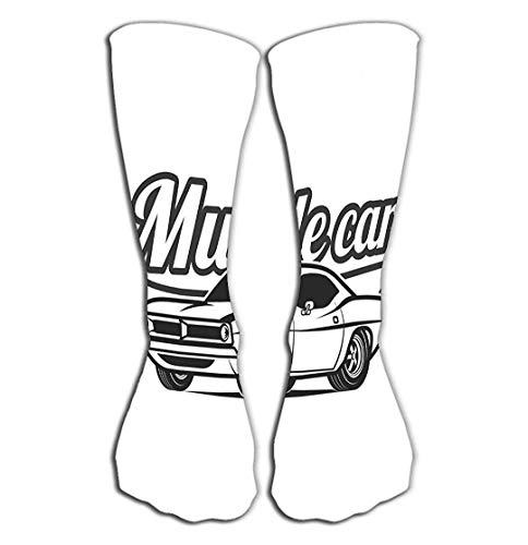 Jxrodekz Outdoor Sports Men Women High Socken Stocking Muscle car Cartoon Classic Poster Print Tile Length 19.7