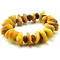 Fatto a mano-Bracciale elasticizzato, con burro naturale e vera ambra