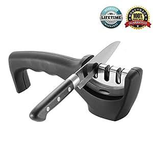 AMJUK - Affilacoltelli da cucina,sistema di affilatura professionale a 3fasi, per affilare coltelli in acciaio e in ceramica di tutte le dimensioni, colore: nero