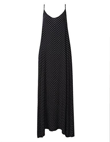 KoJooin Damen Kleider Maxikleid Trägerkleid Loose Casual mit Polka Dots zwei Tasche Dünne Spaghetti Strap Sommerkleid Boho Style Schwarz-Liebe Herz