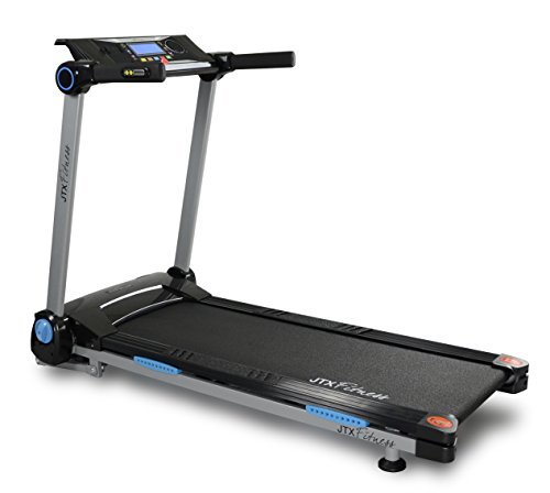 41T5USu82IL - JTX Slim Line Flat Foldable Running Machine - Folding Treadmill - Compact, Electric, Motorised Exercise Machine with Digital Incline for the Home Gym - Fat Burning & Weight Loss Programs - Speakers
