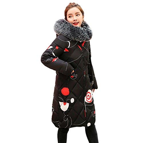Damen lange Daunenjacke, Moonuy Nette Stilvolle Frauen Mädchen Solide Dicker Winter Schlanke Warme Lammy Jacke Haarkragen Mit Kapuze Mantel Heißen Soliden Warmen Mantel Mit Taschen (Schwarz, 3XL)