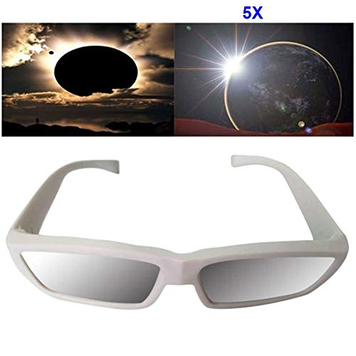 Dastrues 1/3/5/10 Stück Modischer Solar Eklipse Gläser Plastik Betrachtung Schutz Augen Iso Ce Zertifiziert Sonne Glas aus Watching Eclipses - Weiß, 5pcs