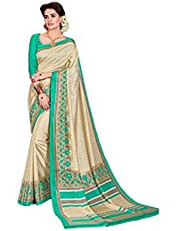 [Sponsored Products]PFERD Beige And Sea Green Printed Art Silk Saree With Blouse Piece