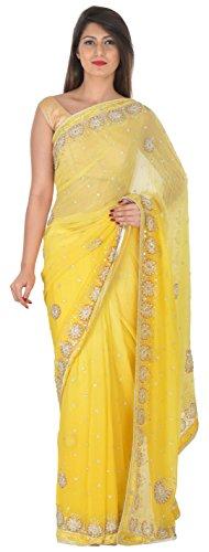 NARI RATNA FASHION Women's Viscose Saree (Yellow)