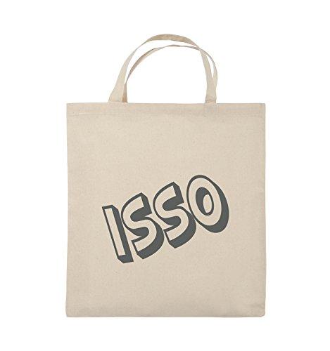 Comedy Bags - ISSO - COMIC SCHIEF - Jutebeutel - kurze Henkel - 38x42cm - Farbe: Schwarz / Pink Natural / Grau