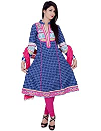 Rama Printed Blue Colour Anarkali Kurta With Legging & Dupatta Set