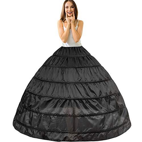 Kostüm Petticoat Slip Krinoline - 6 Ring Reifrock Unterrock Petticoat Damen Hochzeitskleider Underskirt Krinoline Brautkleider mit Schichten Tüll für Hochzeit Party Barock Kleid Slip Rock verstellbar Unterröcke