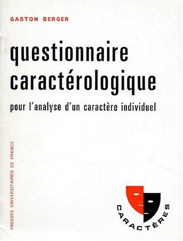 QUESTIONNAIRE CARACTEROLOGIQUE. 12ème édition