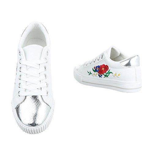 Ital-Design - Pantofole Donna Weiß Silber PQ-9