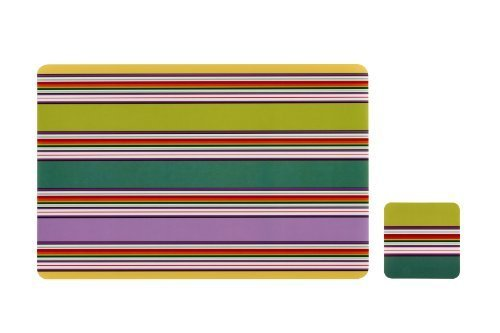 Premier Housewares Stripe Placemats And Coasters, Set of 4 by Premier Housewares
