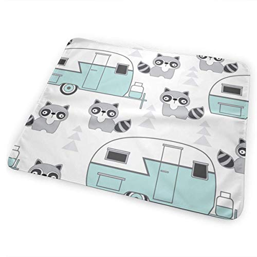 swerrtty Trailers-and-Raccoons-Blue-on-White_2250 Changing Pad Portable - Biggest Changing Mat to Change Diaper (25.5