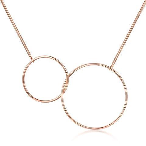 Geometrische Interlock Kreis Ring in 925Sterling Silber vergoldet rot Halskette (43,2cm) Schmuck Geschenk für Frauen Mädchen