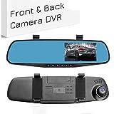 Dash Cam a doppia lente, Dashboard per macchina fotografica a specchio, LESHP Schermo LCD a doppia lente da 4.3 pollici Videoregistratore DVR Schermo retrovisore TFT G-Sensor impermeabile per telecame