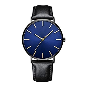 DYLUNG Men's Watches,Ultra Thin Luxury Quartz Wrist Watch with Leather Strap Business Sports Casual Dress Watches Chritmas Birthday Gifts for Man