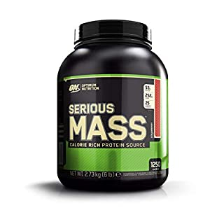 Optimum Nutrition Serious Mass Weight Gainer Whey Protein Powder with Vitamins, Creatine and Glutamine. Protein Shakes by ON - Strawberry, 8 Servings, 2.72kg