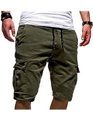 Vovotrade Pantaloncini Uomo Shorts Estivi Uomini Drawstring Pantaloncini Corti Bermuda Uomo Corti Sport Uomini di Colore Puro Benda Casual Sciolto Pantaloni Tuta con Coulisse Pantaloni Corti