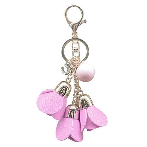 WDDqzf ornament Skulptur Figur Rose Flower Keychain Schlüsselanhänger Fashion Car Key Chain Damen Schlüsselanhänger Ring Tasche Anhänger, Pink, 12Cm X 4,5Cm (Weihnachts-ornament Cast Das)