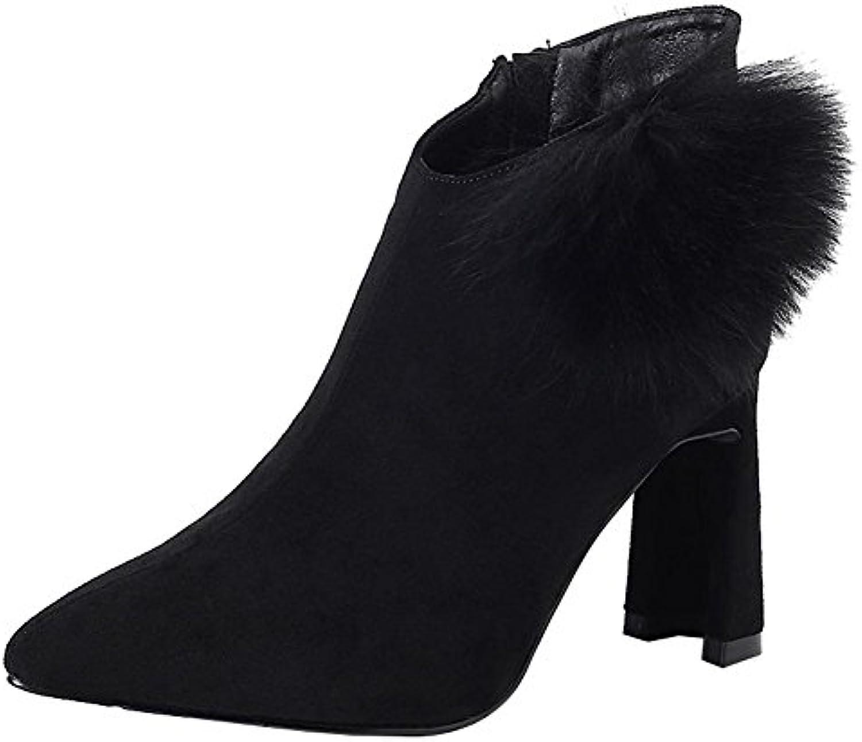 wdjjjnnnv Femme court Bottes High High Bottes Heels Fermeture Éclair en cuir épais en peluche chaud Chaussures de chevilleB078LJ334PParent 0437af