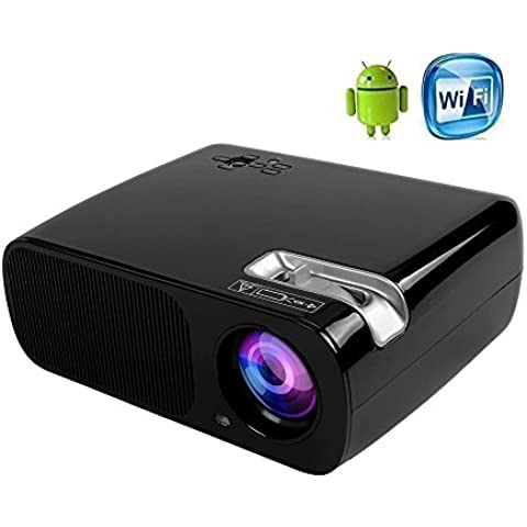 anunu BL20aggiornamento Wi-Fi Android4.4Proiettore 1080p 800x 480Home Theater con HDMI/USB/VGA/AV/TV per commercio riunione Pellicola Video