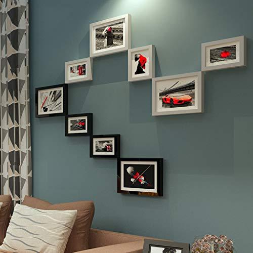 WENYAO Fotorahmen Wohnaccessoires Kreative Kombination aus Schwarz-Weiß-Rahmen Wand Geeignet für Sofa/Esszimmer/Treppe 9 Stück (Farbe: B) - 9 Stück Esszimmer