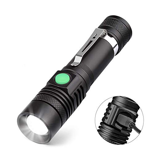 Torche Lampe LED Rechargeable USB, Coquimbo Lampe de Poche 600 Lumens, IP65 Étanche, 4 Modes Eclairage, Lampe de Poche Zoomable pour Ménage, le Camping, La Randonnée, D'urgence (Batterie Incluse)