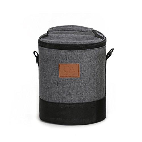 Yongjun Sac épaisse de la Bourse du déjeuner d'aluminium du récipient d'aluminium de sac d'aluminium du fût de l'isolement Grand sac ronde du douce d'Oxford gris