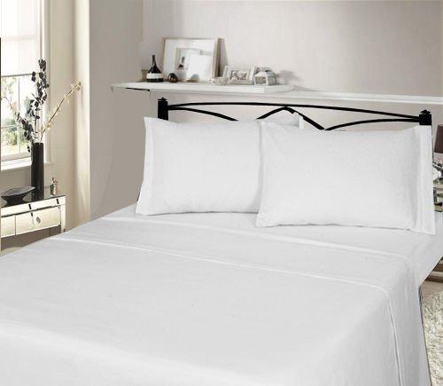 Lino Zone-flanella 100% cotone spazzolato caldo e Cosy (matrimoniale tinta unita, Bianco)