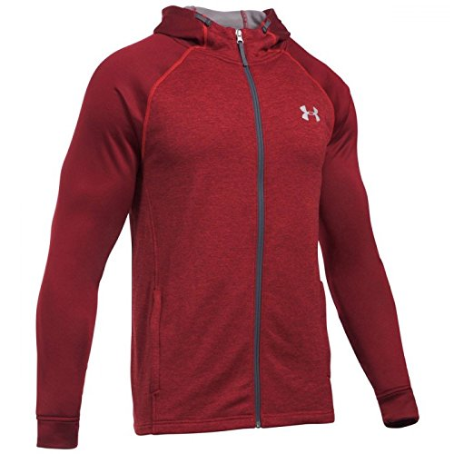 under-armour-2017-coldgear-tech-terry-fitted-fz-hoody-pullover-mens-sports-hoodie-red-large