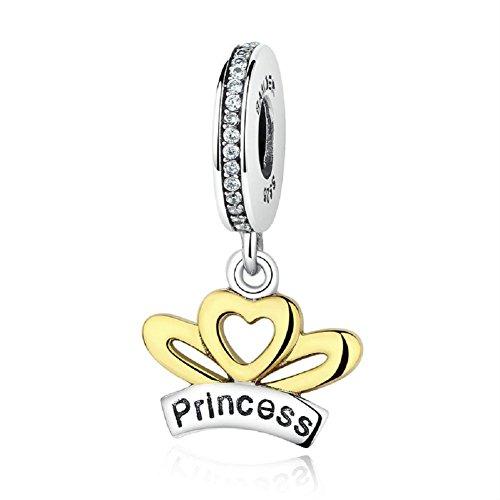 Princess crown charm in argento sterling 925con ciondolo cuore placcato oro regali di natale fit european charms by chengmen gioielli