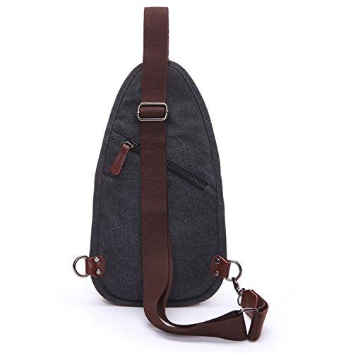 Outreo Tracolla Uomo Borsa a Spalla Chest Bag Sport Piccolo Petto Borse Vintage Tasca di Tela Trekking Outdoor Borsello per Militare Tasche Marsupio Viaggio Nero