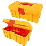 (505)(Gelb) Werkzeugkoffer, Werkzeugkiste Angelkoffer Kasten Box 14x33x14 cm