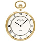 Rotary Gold Plated Slim Line Open Face Pocket Watch With Single Albert Chain
