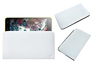 Acm Rich Leather Soft Case For Lenovo S60 Sisley Mobile Handpouch Cover Carry White