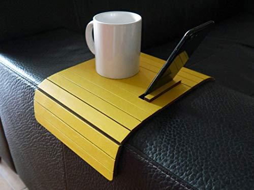 Holz sofa armlehnentisch mit handy stehen in vielen farben wie gelb Armlehnentablett Moderner tisch für couch Klein schleichendes sofatisch Armlehne flexibel tablett Falten couchtisch (Handy-couch)