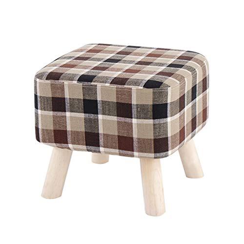 Big Square Foot Hocker Textil-Leinen-Polsterhocker Gepolstertes Sofa Abnehmbarer Und Waschbarer Bezug Hocker 100kg-Tragfähigkeit (40 × 35 cm) 4 Beine