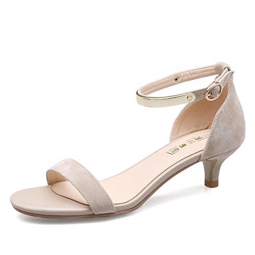 Fibbia di parole di pecora con i sandali/Sandali a basso tacco estivo altezza del tacco 4.5CM