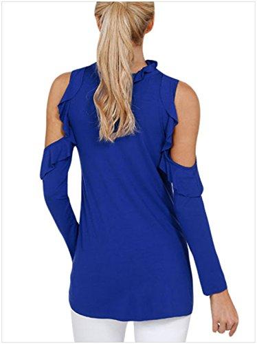 Sexy Manches Longues Ourlet Volanté Volantée à Volants Cold Shoulder Épaules Dénudées Épaule Dénudée Encolure Profonde Col en V Blouse Chemisier T-Shirt Tee Haut Top Bleu