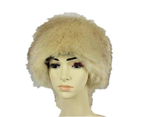 Chapeau en fourrure synthétique pour femmes d'hiver cache-oreilles avec fourrure Bonnet de ski Beige