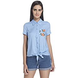 Vero Moda Women's Button Down Shirt (10187588_Chambray Blue_M)