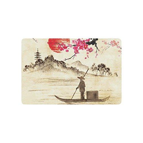 Creative Klassische Japanische Tinte Malerei Home Decor, Sunset Sakura Zweige Fishman See Landschaft Polyester Stoff Vorhang für die Dusche Badezimmer-Sets mit Haken 182,9x 182,9cm, Textil, multi 1, 23.6 X 15.7 inch (Badezimmer-set Sakura)