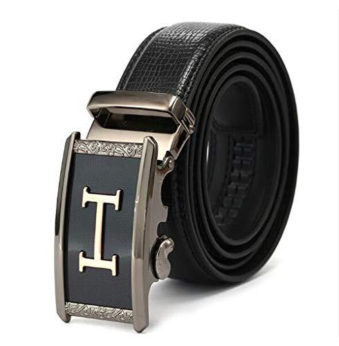 IT-AP Cintura Uomo In vacchetta, Cinturino Regolabile In vacchetta Con Cinturino Automatico Con Fibbia A Cricchetto, Fibbia Reversibile Casual Cinturino Nero/Marrone Lunga 48 Pollici