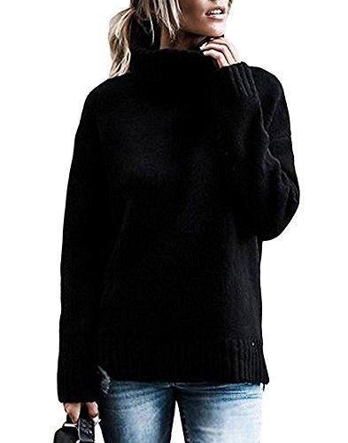 Tomwell Pull col Roul Femme à Manches Longues Pull Femme Hiver sous-Pull Col Roulé Tricot Hauts Femmes Basique Pull Manteau Chemisier Femme Automne Noir FR 38