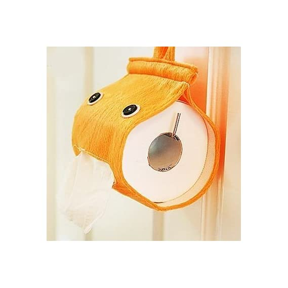Bds Hanging Soft Plush Toilet Tissue Paper Holder Dispenser (Random Colour)