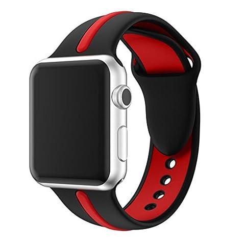 Ihee inspirée l'usure très confortable Sports Bracelet en silicone Strap Band pour Apple Watch Série 1/238mm nouveaux Mode 1 M noir