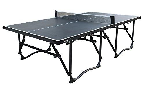 L.A. Sports Tischtennisplatte Solex Table Tennis Set Schwarz mit Netz – Tischtennis Tisch mit Turniermaß Stabile Beine Niveauausgleich Besonders Klein klappbar Transportrollen