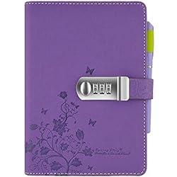 Cuzit High-Pressure - Diario/quaderno segreto con copertina fiorata per bambini e studenti, colore: viola