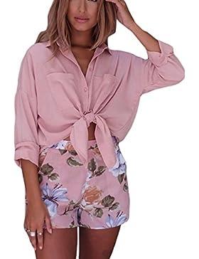 Verano De Mujer De Manga Larga De Algodon Casual Loose Camiseta Top De La Blusa